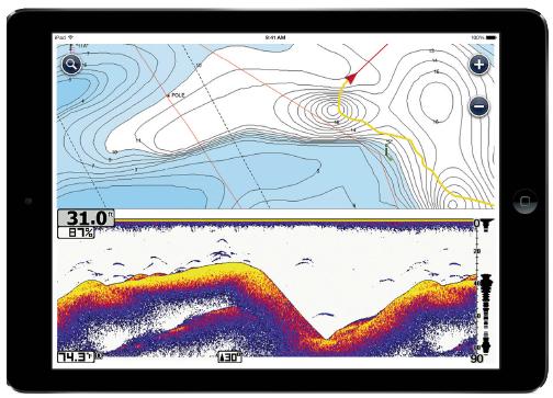 L'app Navionics Boating con funzione ecoscandaglio