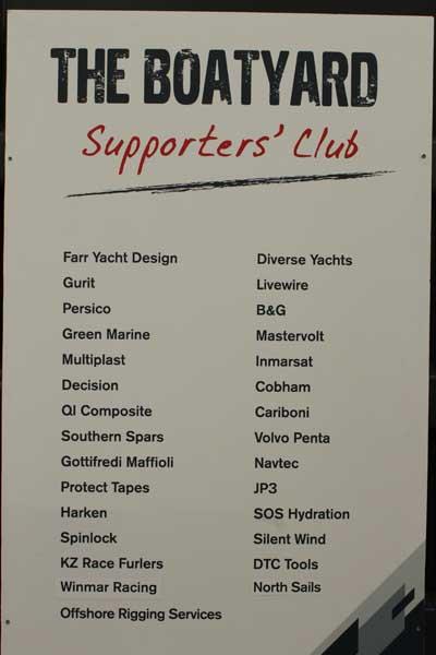Le aziende fornitrici del The Boatyard, lo shore team comune della VOR. Si nota come figurino le cinque aziende italiane citate