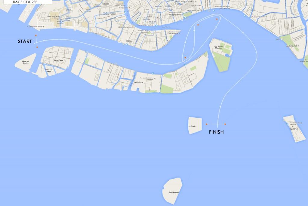 Il percorso che impegnerà i sette maxi iscritti alla prima edizione che passerà davanti piazza San Marco