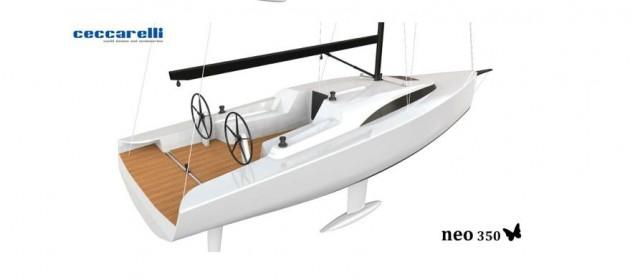La versione day cruiser del Neo 350, firmato da Giovanni Ceccarelli, presenta doppia ruota del timone molto avanzata con due winch accanto in omaggio all'easy sailing
