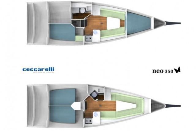 I due layout per gli interni del Neo 350