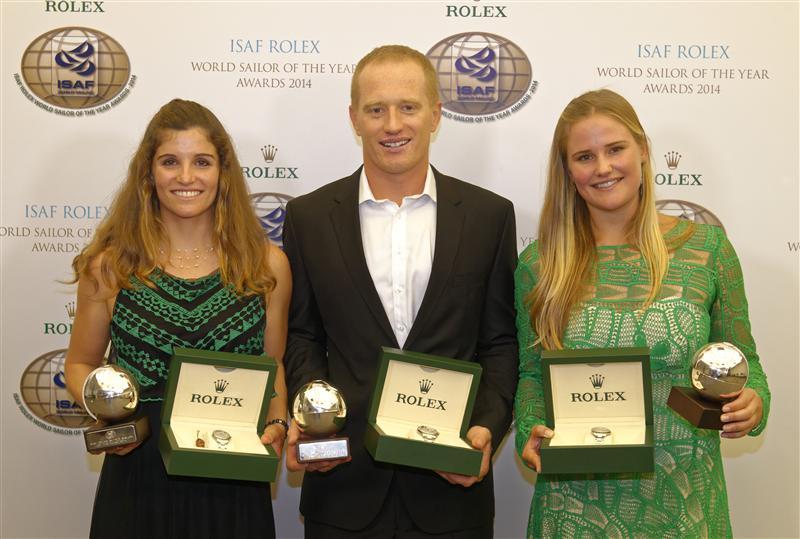 Jimmy Spithill con Grael-Kunze e i premi del Rolex World Sailor of the Year. Foto Arrigo/Rolex