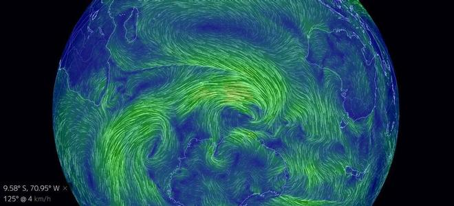L'immagine mostra l'Earth Wind Map in azione. Ogni colore indica una diversa intensità del vento