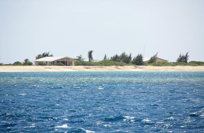 Una foto dell'isolotto del sud del reef, con i bungalow della Guardia Costiera. Foto Panoramio