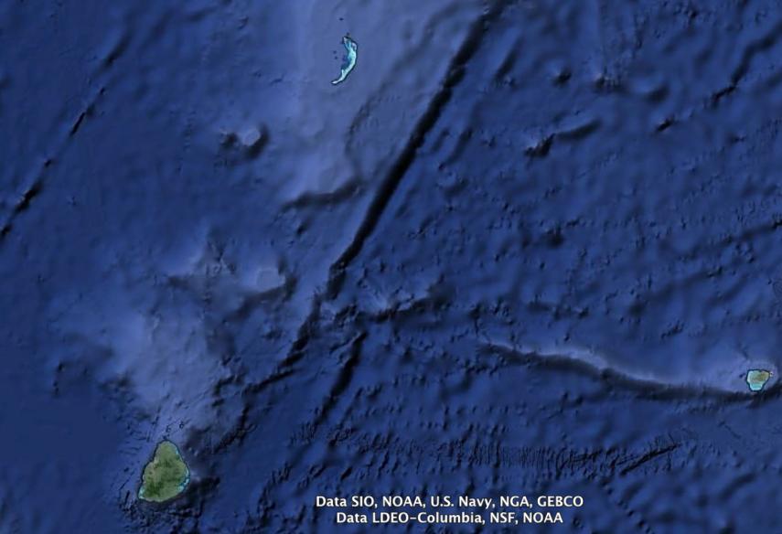 La posizione del reef rispetto a Mauritius (214 miglia a NNE). Elaborazione FareVela