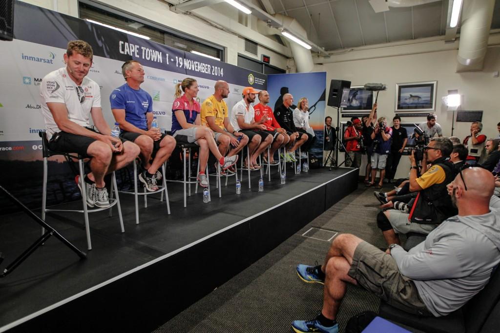 La conferenza stampa degli skipper oggi a Cape Town. Foto Ainhoa Sànchez