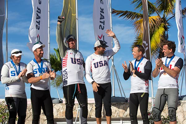 Il podio della SSL a Nassau. Foto Martin Raget, da sinistra Loof (oro a Weymouth 2012 in Star), Mendelblatt e Kusznierewicz (oro in Finn  Savannah 1996). Foto Martin Raget