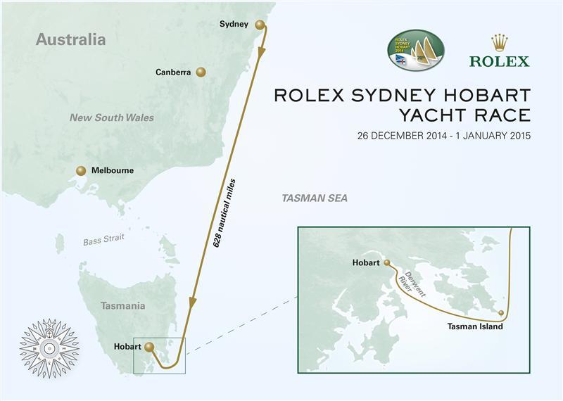 La rotta della Rolex Sydney to Hobart Yacht Race, 628 miglia