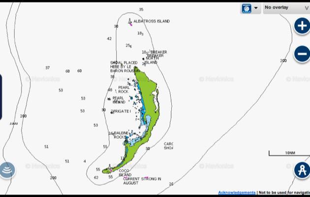 Cargados Carajos Shoals nell'ingrandimento della cartografia Navionics