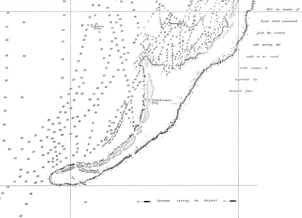 """Cargados Carajos Shoals in una carta nautica BA 1881, scala 1:121.000, dai rilievi del Capitano Eward Belcher nel 1846 sull'HMS Samarang. Si noti che sulla carta viene riportata la nota """"Nessun vascello dovrebbe provare ad approcciare il suo lato sopravvento"""". (Edizione 1941)"""