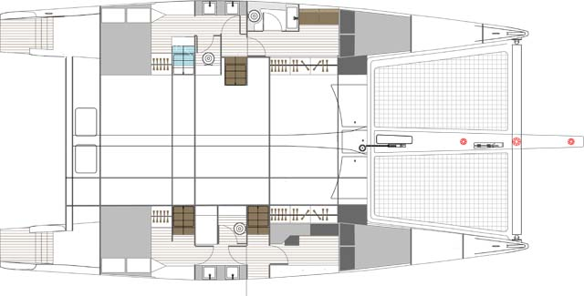 Il layout degli interni a quattro cabine con a prua quella dedicata al marinaio