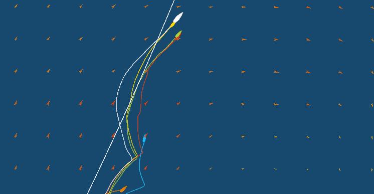 Il tracking alle 13 UTC, il vento inizia a calare a 15-16 nodi e Vestas inizia a cambiare angolo di TWA