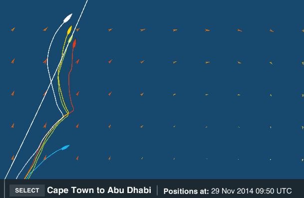 IL tracking alle 9:50 UTC del 29 novembre. Dopo aver strambato il gruppo di testa decide di lasciare a dritta l'atollo, solo a questo punto inizia a seguire la rotazione del sistema meteo dirigendo verso NE. Fonte tracking volvo ocean race