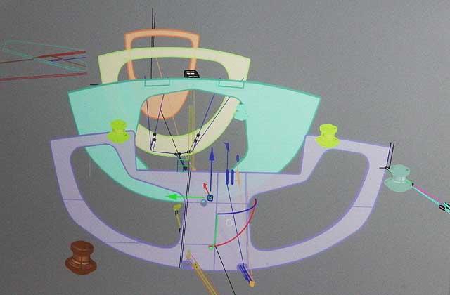 Una fase della progettazione al computer dei sistemi di manovre sottocoperta di Azzurra. Immagine Miguel Costa
