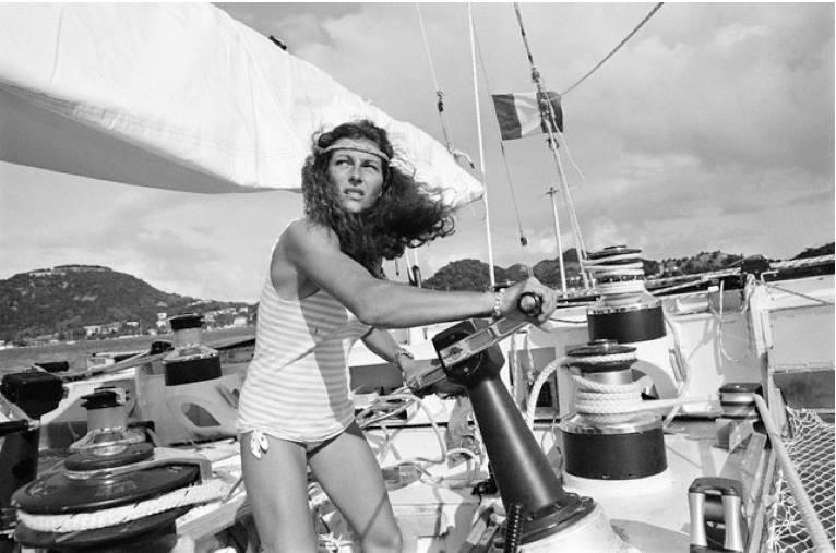 Florence Arthaud in una delle sue prime regate oceaniche