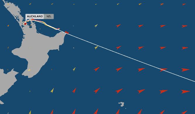 La posizione della flotta alle 12:40 UTC di mercoledì. Come si può notare, dopo aver doppiato East Cape, i VO65 agganceranno la coda del ciclone Pam in attenuazione, cavalcandolo verso SE con venti sui 35 nodi