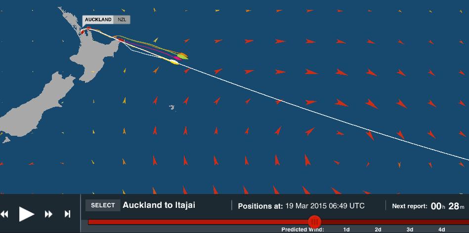 La posizione della flotta alle 6:40 UTC di oggi, pronta a cavalcare la coda del sistema meteo ex Ciclone Pam verso SE