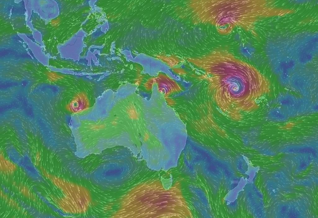Il movimento del ciclone a nord della Nuova Zelanda