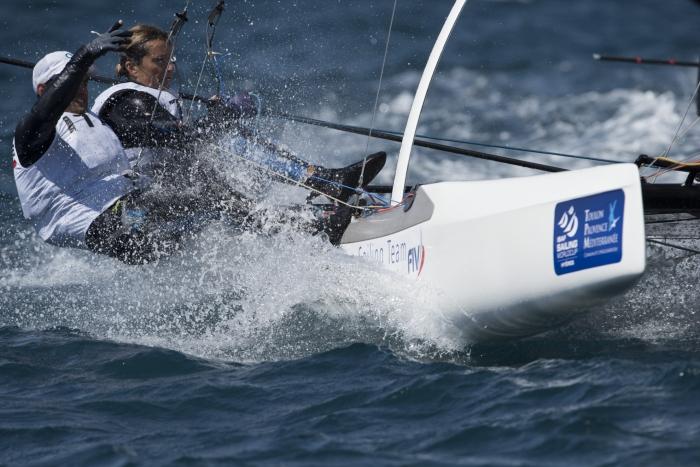 Salvà-Bianchi oggi a Hyeres con vento forte. Foto Socha