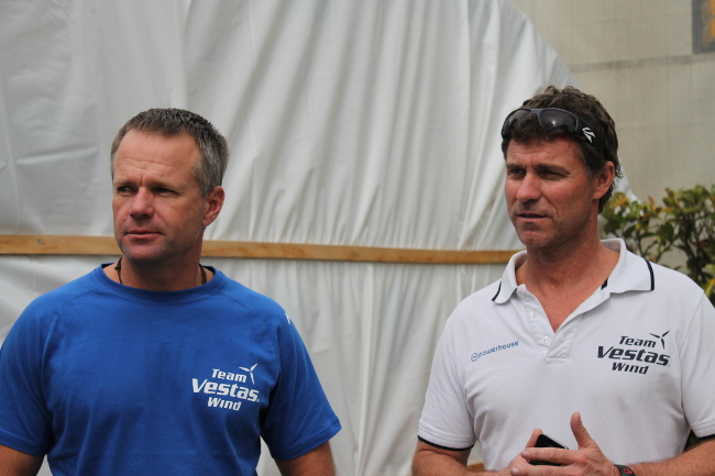 Chris Nicholson e Neil Cox, skipper e shore manager di Vestas. Foto Giuffrè