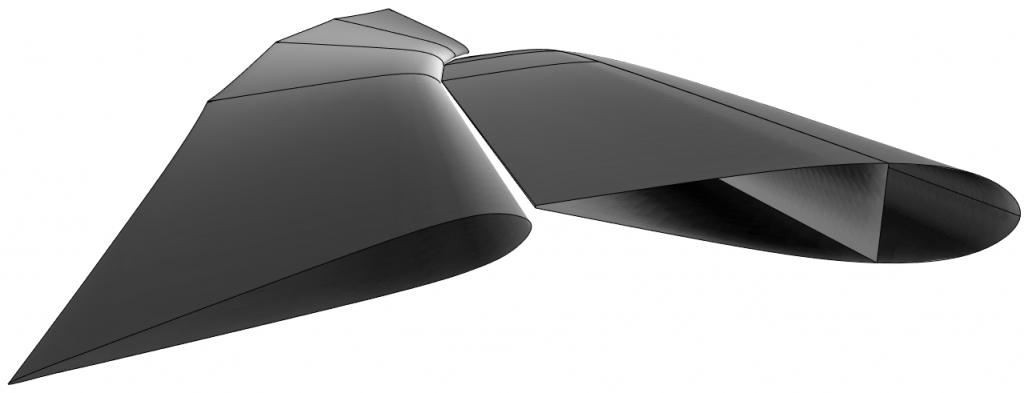 Rendering dell'ala imposta (quella dell'AC48 ha solo tre flap). Notare il grande twist, con camber negativo in alto