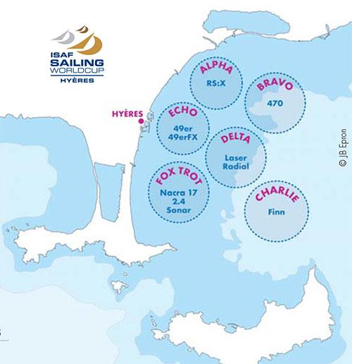 La disposizione dei campi di regata a Hyeres. Il campo di regata provenzale è noto per le condizioni sopesso dure e per i comitati inflessibili che fanno regatare fino a tarda ora