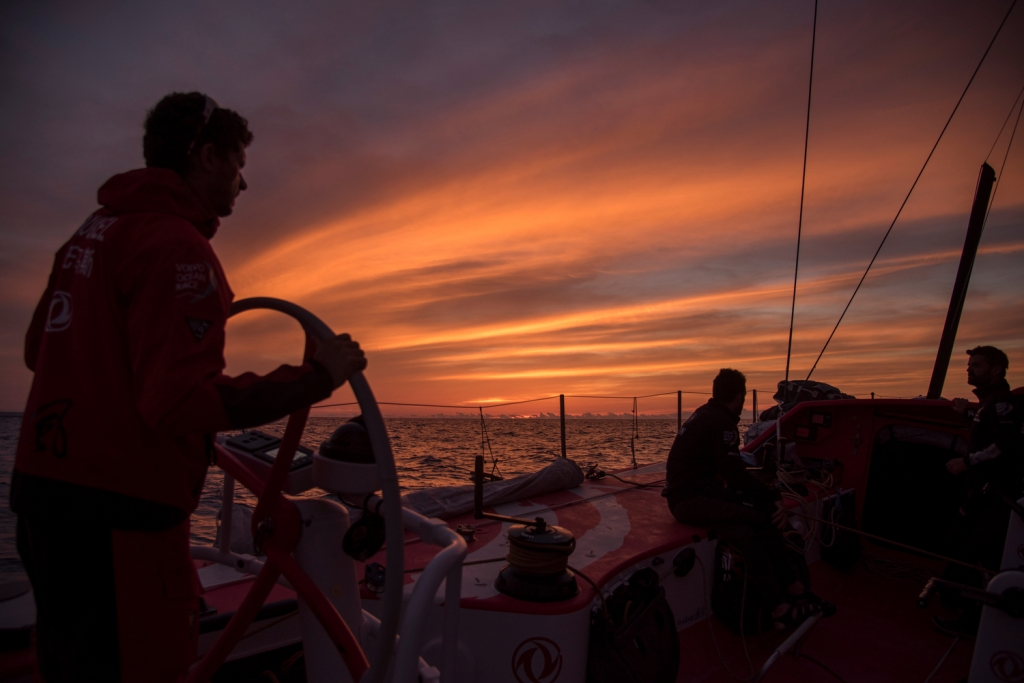 May 5, 2015. Leg 6 to Newport onboard Dongfeng Race Team. Day 16. Magic hour.